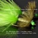 Wooly Bugger tête et col Vert Fluo personnalisable