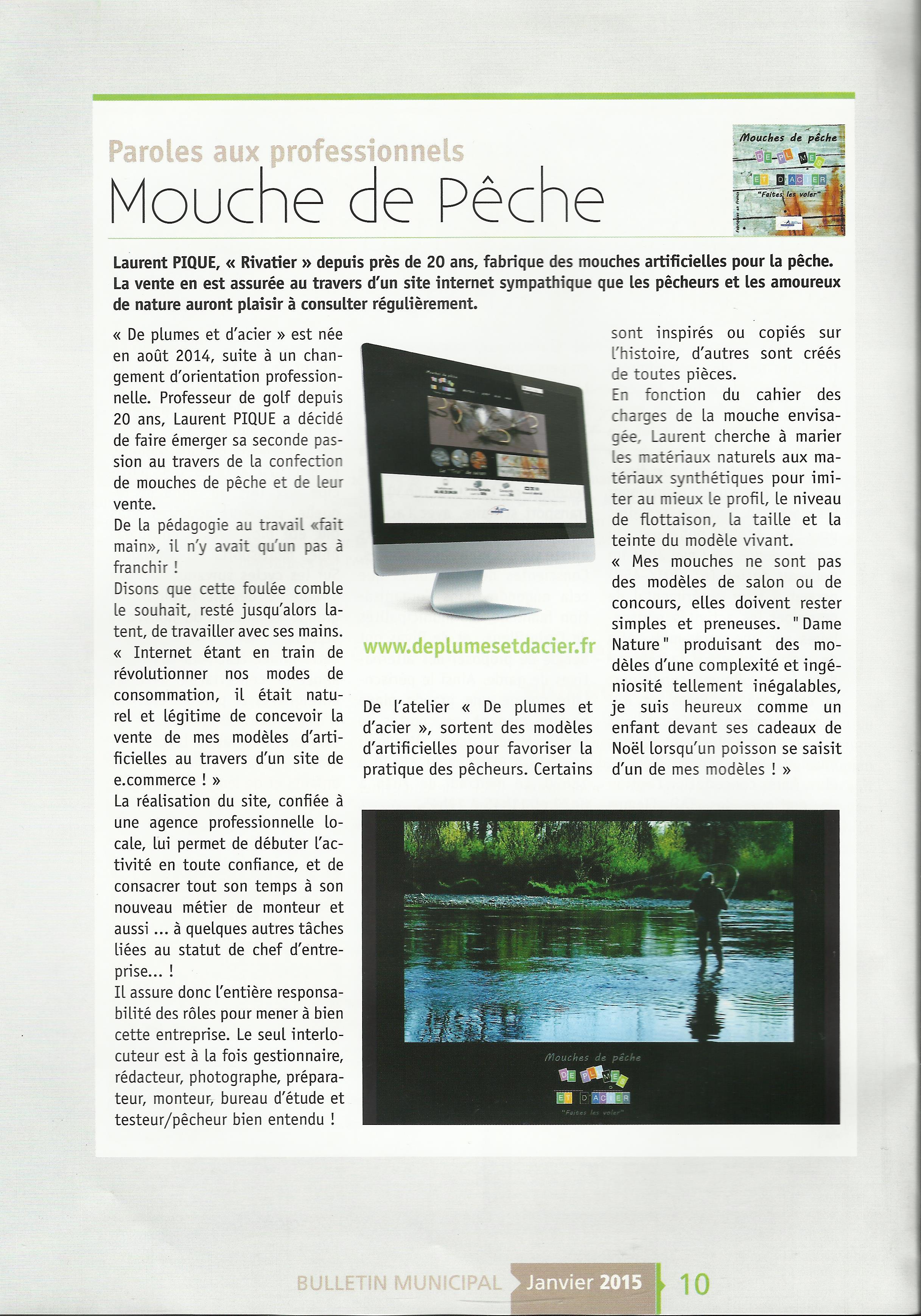 """Article bulletin municipal mouches de pêche """"De plumes et d'acier"""""""