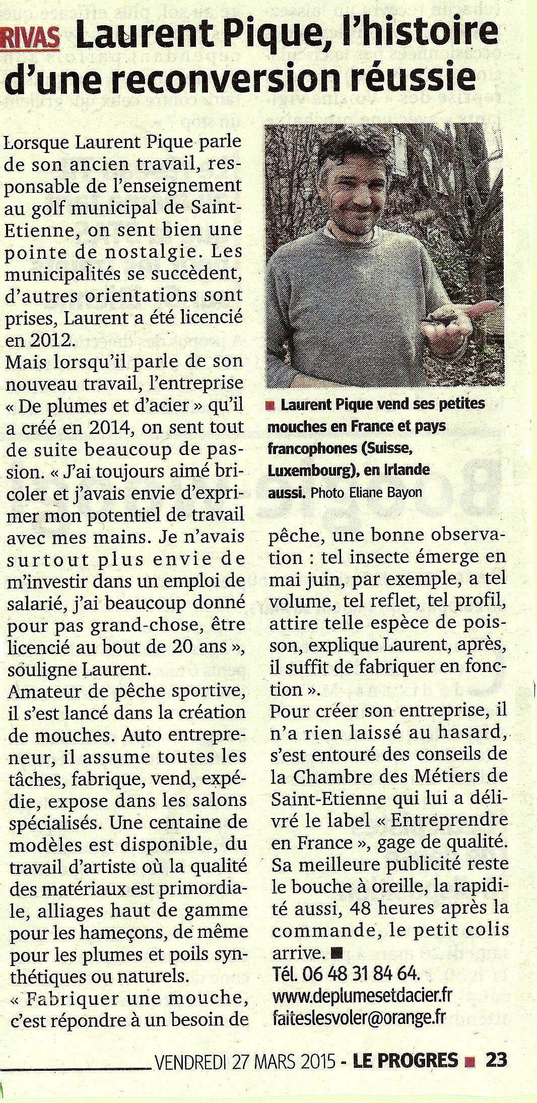 """Peche mouche """"De plumes et d'acier""""Article Le progrès mars 2015"""