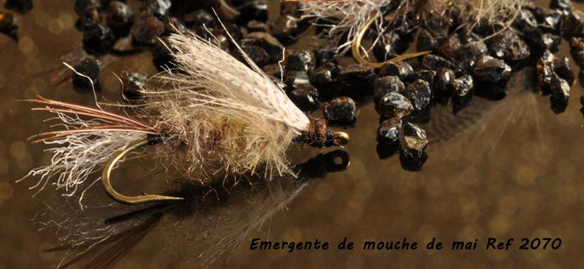 """Mouche peche """"De plumes et d'acier"""" Emergente de mouche de mai Ref 2070"""