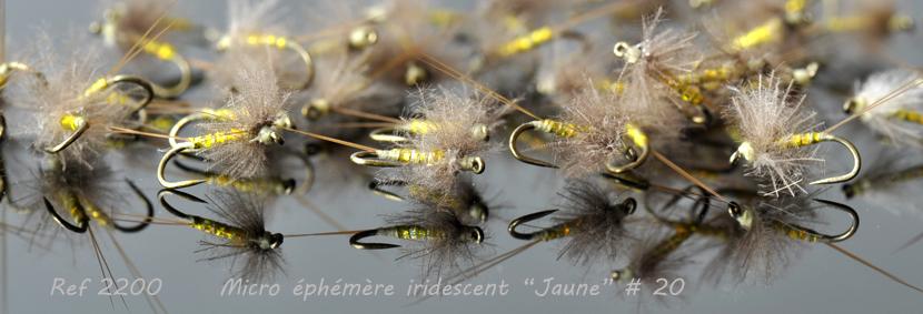 """Mouche peche """"De plumes et d'acier"""" Ephémère iridescent jaune taille 20"""
