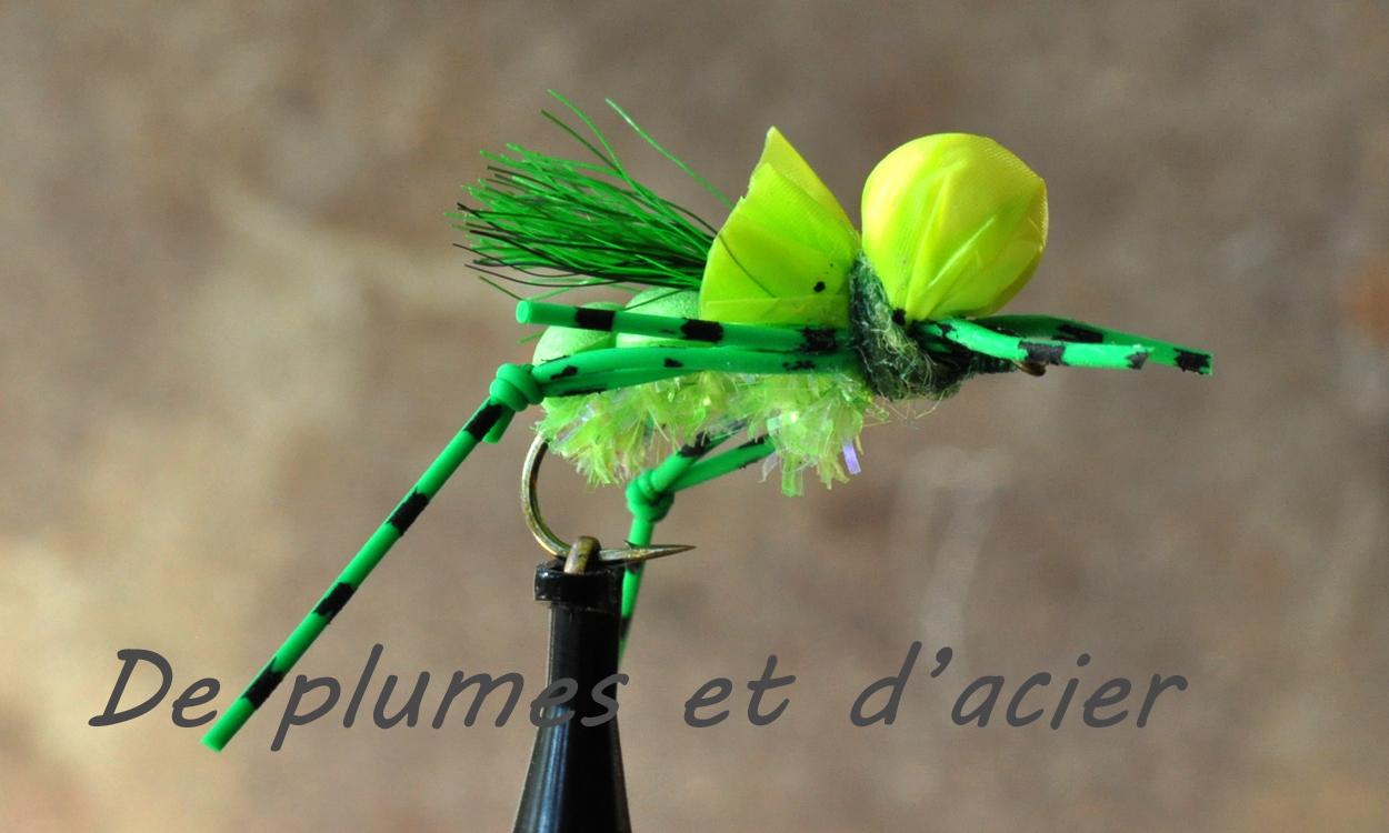 """Mouche pêche """"De plumes et d'acier"""" Sauterelle"""