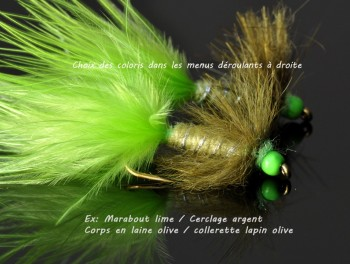 Wooly Bugger tête et col Vert Fluo personnalisable